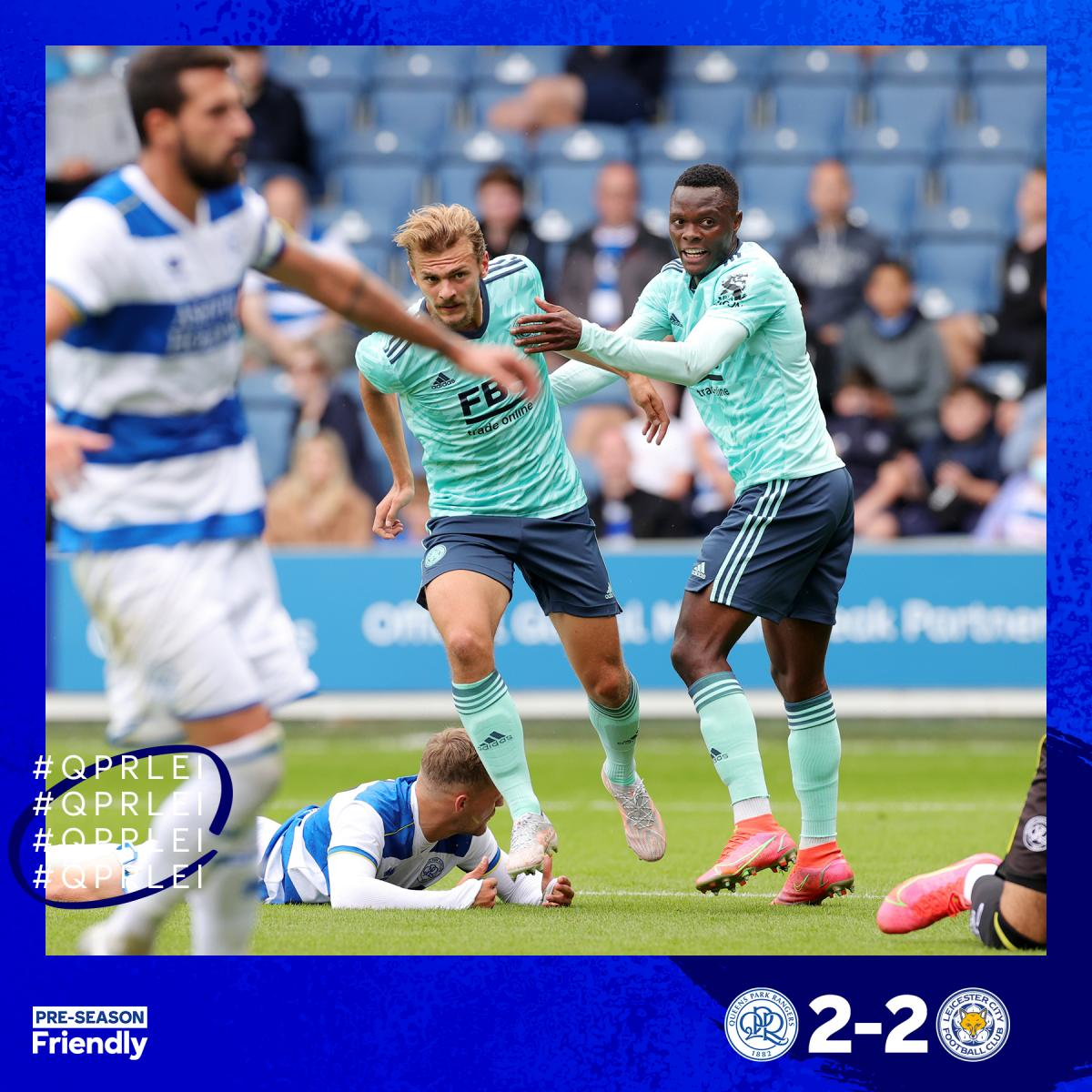 <b><a href='https://vavel.com/en/football/2020/09/22/leicester-city/1038280-leicester-city-vs-arsenal-previewhow-to-watch-kick-off-time-team-news-predicted-lineups-and-ones-to-watch.html'>Kiernan Dewsbury-Hall</a></b> and <b><a href='https://vavel.com/en/football/2021/07/19/leicester-city/1078601-five-leicester-city-youngsters-to-look-out-for-this-season.html'>Patson Daka</a></b> both score to make it 2-2 | Credit: @LCFC