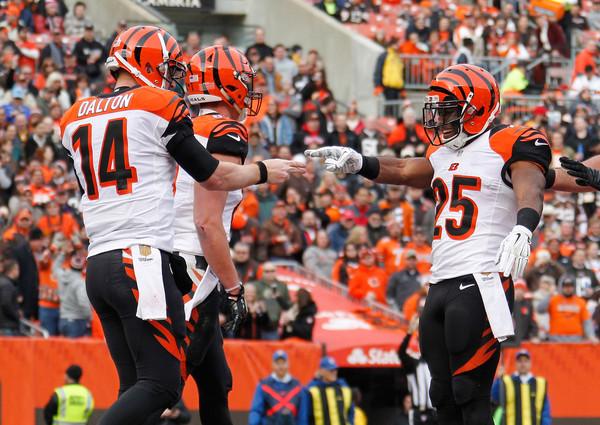 Andy Dalton celebrates a touchdown with his teammates