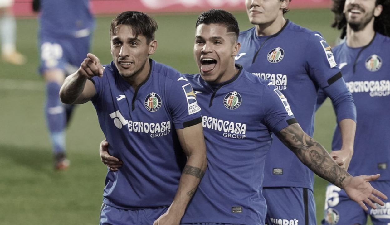 Damián Suárez en la celebración de su gol frente al RC Celta / Foto: @GetafeCF