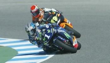 Jerez 2005, Porto y Pedrosa en plena carrera. Foto: motogp.com
