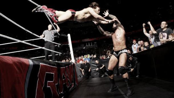 Daniel Bryan performing his signature suicide dive (image:4cronline.com)