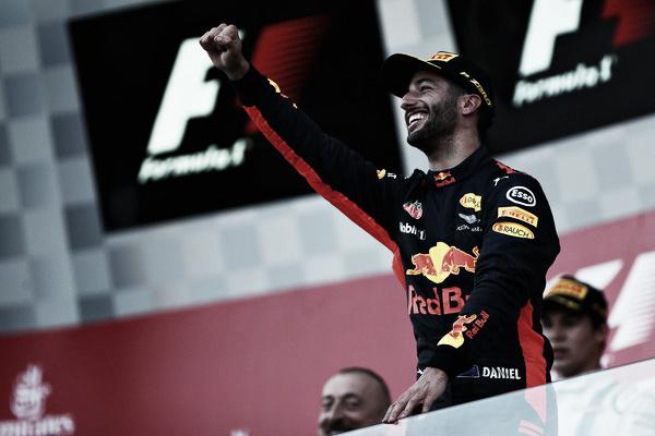 Ricciardo, pletórico en Azerbaiyán tras su victoria | Fuente: Getty
