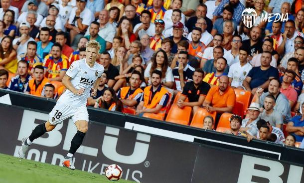 Daniel Wass fue uno de los protaganistas del encuentro con su asistencia a Rodrigo Moreno. Fuente: Valencia CF.