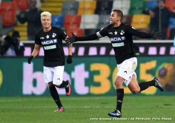 Danilo dopo il gol al Bologna. Fonte: www.facebook.com/UdineseCalcio1896