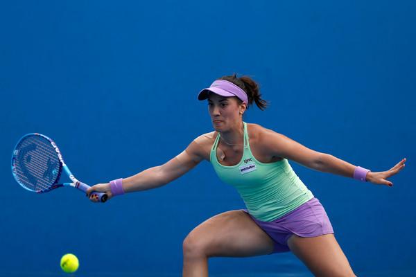 Danka Kovinic in Australian Open action. Photo: Zak Kaczmarek/Getty Images
