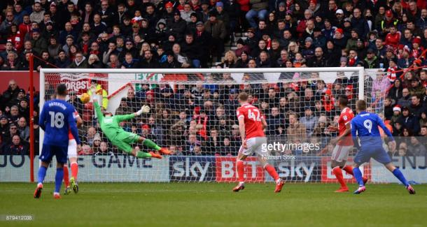 Danny Ward's strike from 25-yards out was the highlight of a damp day at the City Ground. Source | Getty Images.