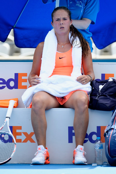 Daria Kasatkina during a changeover yesterday | Photo: Brett Hemmings/Getty Images AsiaPac