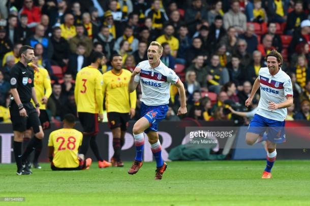 Darren Fletcher celebrates Stoke's first goal at Vicarage Road last week. Source | Getty Images.