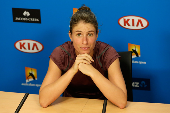 Johanna Konta at a press conference after her semifinal loss to Angelique Kerber at the Australian Open (Getty/Darrian Traynor)