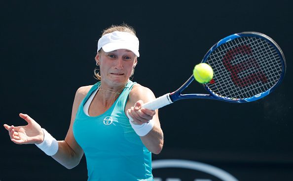 Ekaterina Makarova in action against Ekaterina Alexandrova in the first round (Getty/Darria Traynor)
