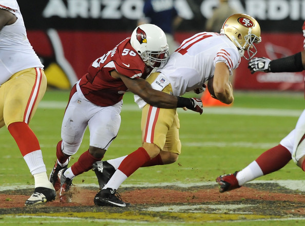 Daryl Washington #58 of the Arizona Cardinals sacks Alex Smith #11 of the San Francisco 49ers (Oct. 28, 2012 - Source: Norm Hall/Getty Images North America)