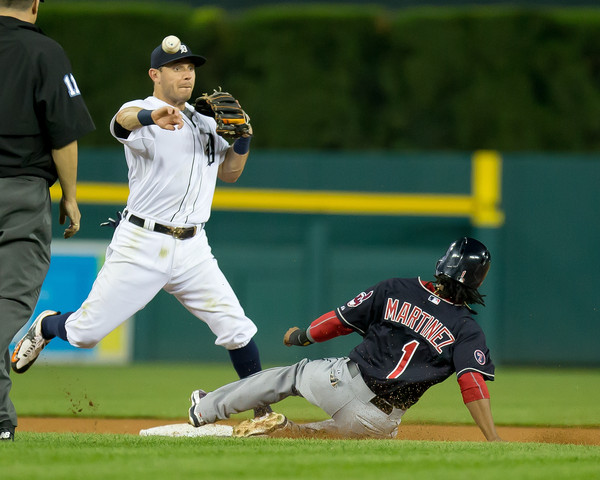 Second base Gold Glove winner Ian Kinsler turns two for the Tigers against the Indians, but he might not be next season. Photo Credit: Dave Reginek of Getty Images
