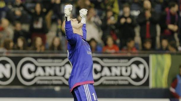 Nauzet Pérez celebra un tanto de su equipo. Fotografía: LFP.