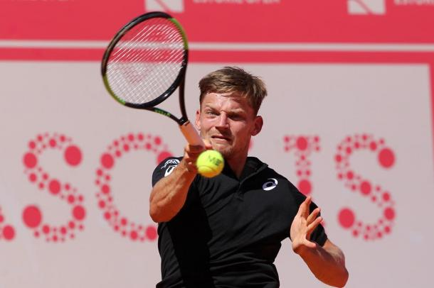 David Goffin hitting a forehand during his quarterfinals match. (Photo by Millennium Estoril Open)