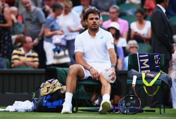 Wawrinka struggled with injury during his first round loss at Wimbledon (Getty/David Ramos)