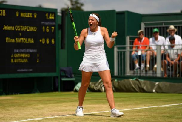 Jelena Ostapenko celebrates her fourth round victory (Getty/David Ramos)