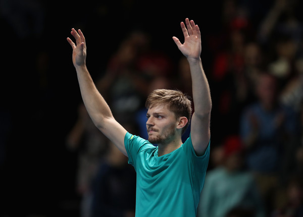 David Goffin celebrates his famous win over Federer | Photo: Julian Finney/Getty Images Europe