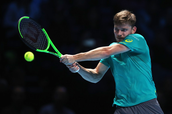 David Goffin hits a backhand during his huge win against Federer; he is now in the biggest final of his career | Photo: Julian Finney/Getty Images Europe