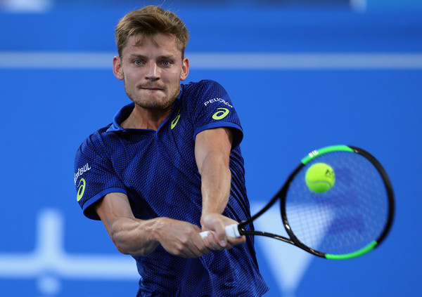 David Goffin hits a backhand at the Mubadala World Tennis Championships in Abu Dhabi/Getty Images: Francois Nel