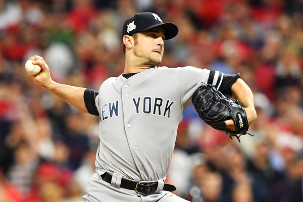 David Robertson #30 of the New York Yankees pitches against the Cleveland Indians in Game Five of the American League Divisional Series. |Oct. 11, 2017 - Source: Jason Miller/Getty Images North America|