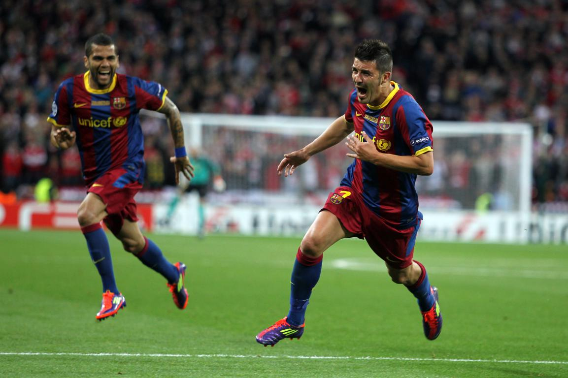 David Villa celebrando su gol en Wembley. | Foto: FC Barcelona
