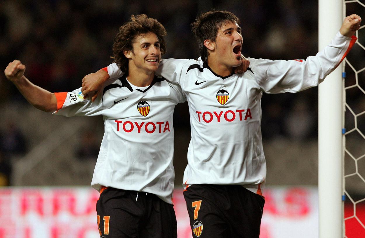 David Villa con Aimar en su etapa valencianista | Foto: La Liga