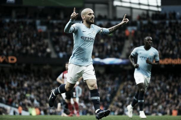 David Silva abriu o placar no derby de Manchester (Reprodução /Manchester City)
