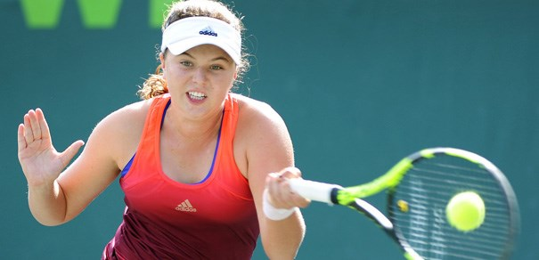 Kayla Day hits a forehand at an event several months ago. Photo: USTA
