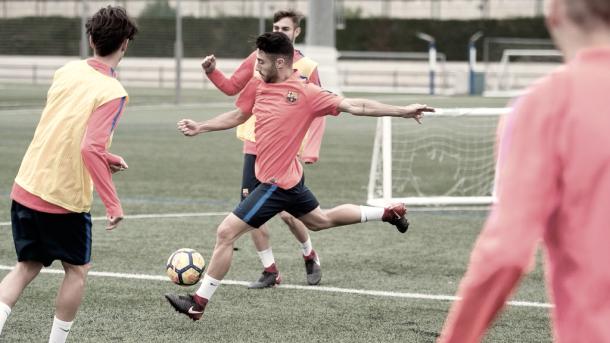 Guillem Jaime en el último entrenamiento antes de poner rumbo a Ciudad Real   @FCBmasia en Twitter