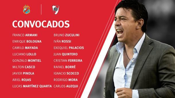 Los futbolistas que fueron convocados por Gallardo para jugar ante Arsenal. Foto: River Oficial.
