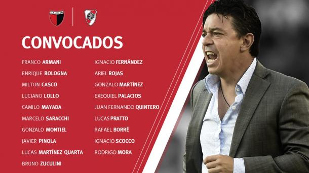 Los convocados por Marcelo Gallardo para el partido ante Colón. Foto: River oficial.