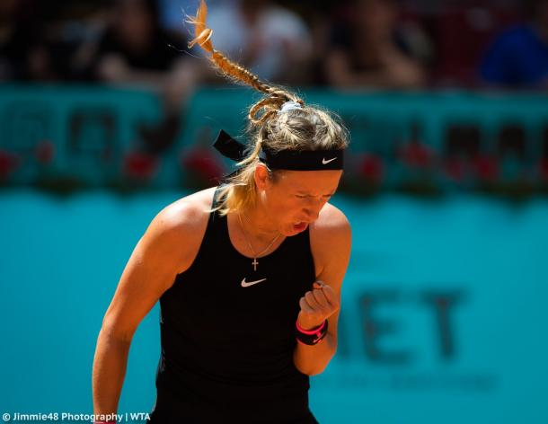 """Come on!"" Victoria Azarenka shouts after winning a point 