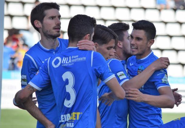 El Lleida, celebrando un gol | Foto: Lleida Esportiu