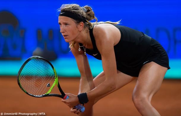 Victoria Azarenka waits to return a serve during her second-round match against Pliskova | Photo: Jimmie48 Tennis Photography