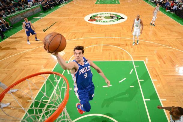Dario Saric in action vs Boston Celtics at TD Garden. Photo: 76ers/Twitter