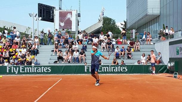 Ruben Bemelmans in action during Roland Garros qualification (Photo: @MyUTR)