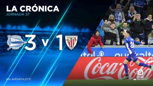 Munir celebra el gol y muestra su alegría como máximo goleador del equipo. Fuente: deportivoalaves.com