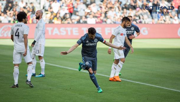 Villa celebrando el gol del 0-1. / Foto: @NYCFC