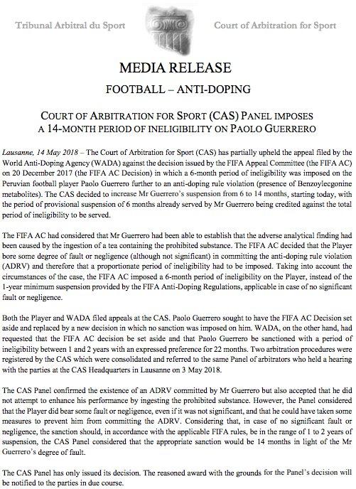 Resolución del Tribunal de Arbitraje Deportivo sobre el caso Paolo Guerrero | Foto: TAS