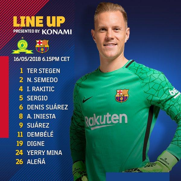 Once inicial del Fútbol Club Barcelona ante el Mamelodi | @FCBarcelona_es en Twitter