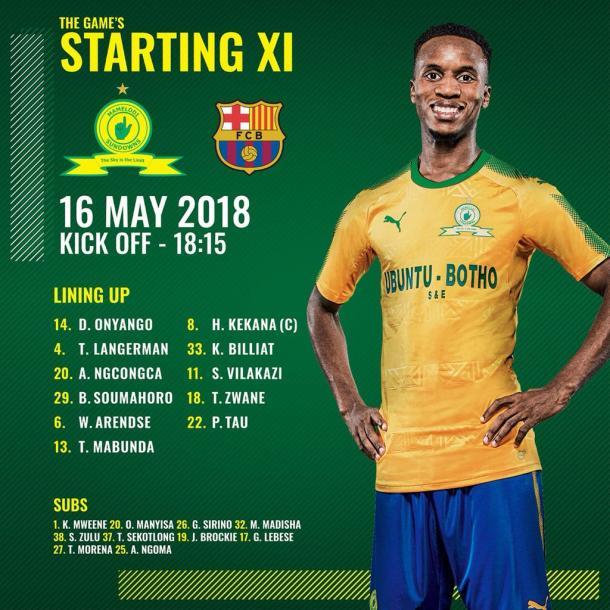 Once inicial del Mamelodi Sundowns ante el Fútbol Club Barcelona | @Masandawana en Twitter