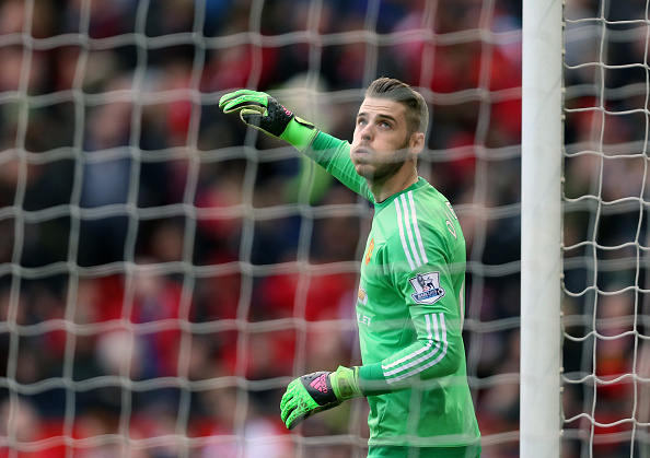 De Gea in action against Aston Villa on Saturday afternoon | Photo: James Bayliss/AMA - via Getty Images