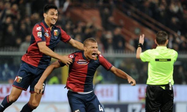 L'esultanza di De Maio per il gol della vittoria. | Foto: GenovaToday