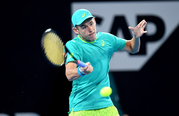 Alex De Minaur hits a forehand during his first-round win. Photo: Bradley Kanaris/Getty Images