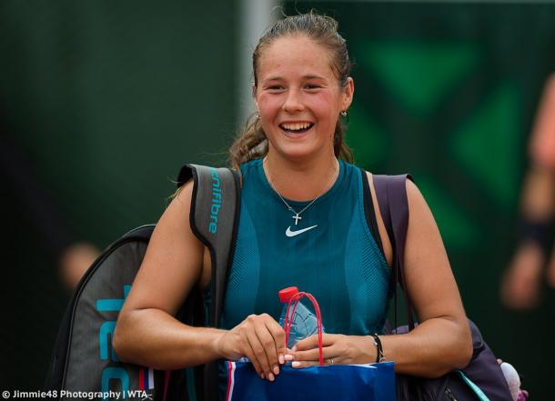 Daria Kasatkina was in a good mood after the match today | Photo: Jimmie48 Tennis Photography