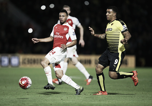 Deeney challenges for the ball. | Photo: Getty Images