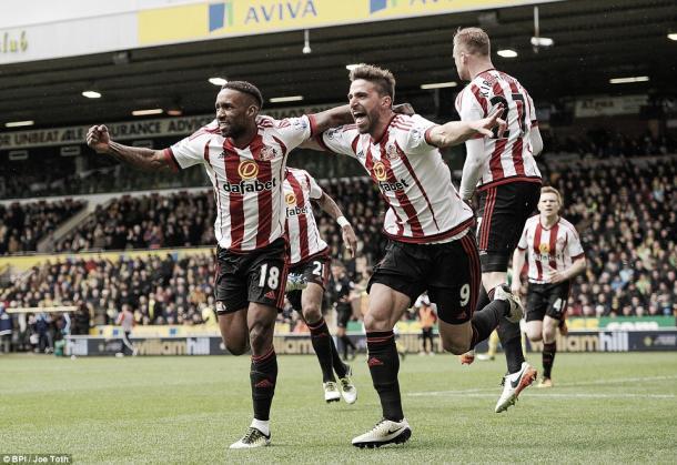 Above: Jermain Defoe, Fabio Borini and Jan Kirchoff celebrating in Sunderland's 3-0 win over Norwich City | Photo: BPI / Joe Teth