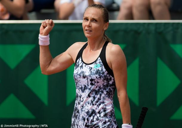 Magdalena Rybarikova celebrates her win | Photo: Jimmie48 Tennis Photography