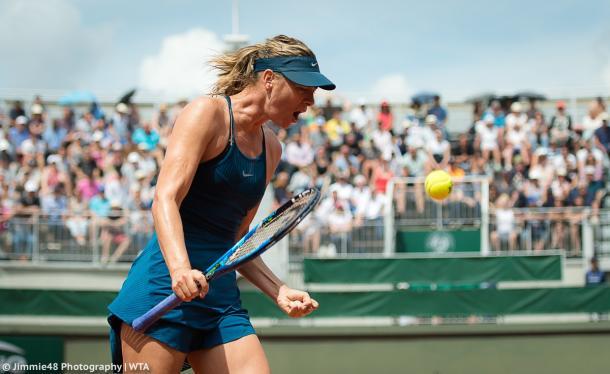 Maria Sharapova celebrates winning a hard-fought point | Photo: Jimmie48 Tennis Photography