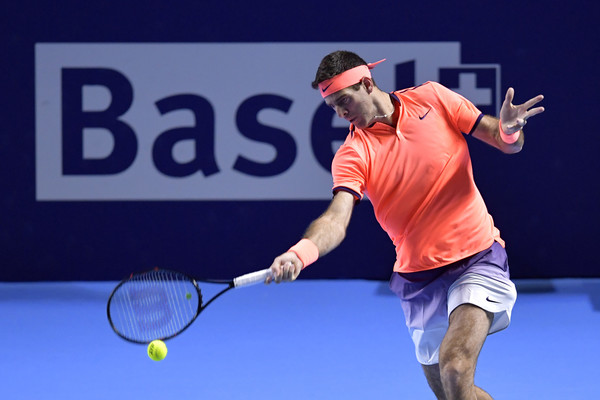 Juan Martin del Potro hits a forehand during his first round win. Photo: Harold Cunningham/Getty Images